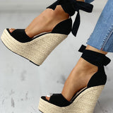 Jodie Straw Wedges | Ankle Wrap