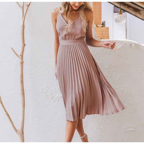 Jaden Pleated Dress | Flare
