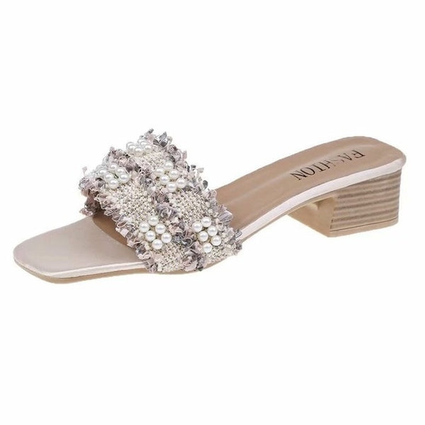 Annabelle Pearl Sandals | Mini Heel