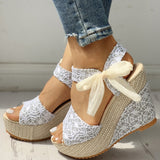 Sanaa Lace Wedges | Bow Knot