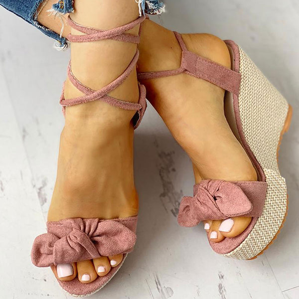 Aria Bowknot Wedges | Ankle Wrap