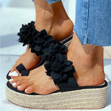 Shana Flower Sandals | Straw Platform