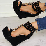 Emoni Studded Wedges | Suede