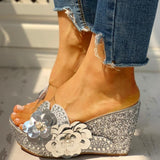 Donna Flowered Wedges | Clear