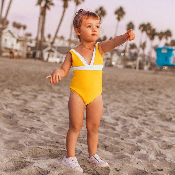 Sarah | Yellow and White One-piece Kids Swimsuit