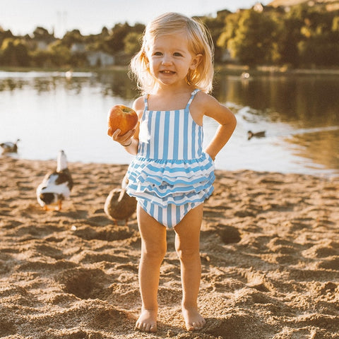 Autumn | Blue and White Stripe One-piece Kids Swimsuit