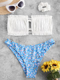 Leah Ribbed Flower Ruched Bandeau Swimwear