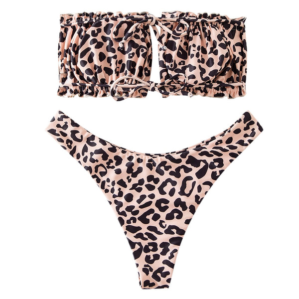 Savannah Leopard Frilled Tie High Swimsuit
