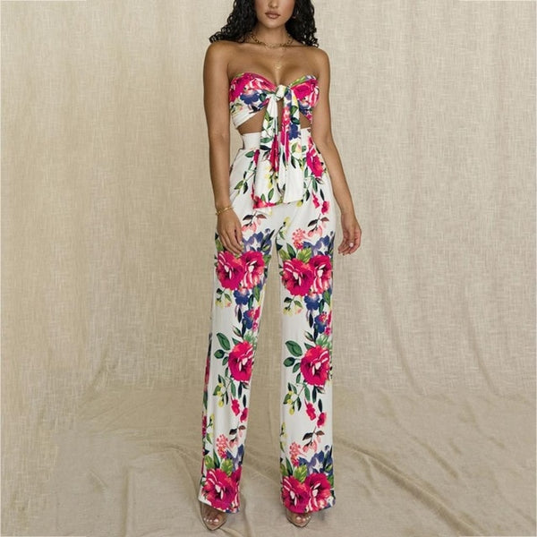 Isabella Floral Print | Wrap Top and Long Flare Pants
