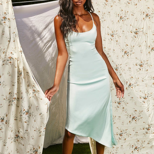 Avery Silky Satin | Slip Sleeveless Midi Dress
