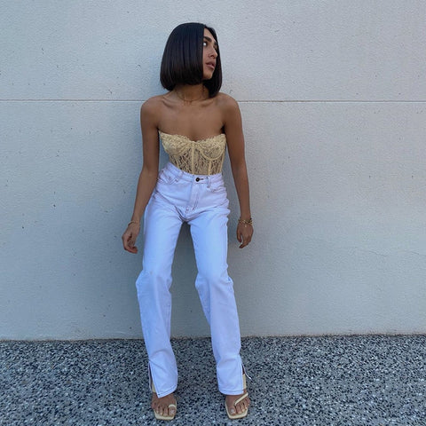 Isabella Strapless Mesh Lace | Sheer Crop Tops Cropped Tops