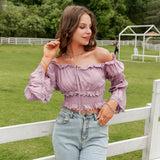 Rea Off Shoulder Ruffles | Off Shoulder Ruffles Lantern Sleeve Tops