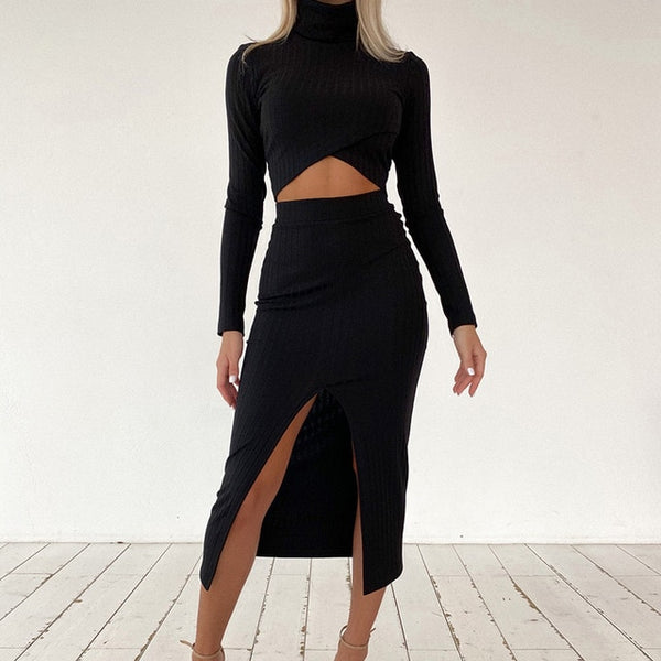 Hazel Long Sleeve Crop Top | Slip Skirts Long Sleeve Top Matching Set
