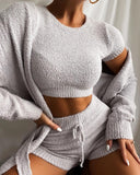 Steph Fluffy Fleece Top | Casual Cropped Top Fluffy Fleece