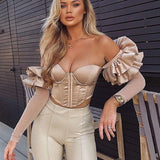 Luna Off Shoulder Corset | Off Shoulder Corset Mesh Butterfly Top