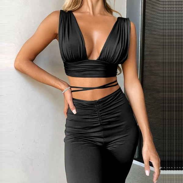 Cryte Matching Set | Sleeveless Crop Top and Pants Matching Set