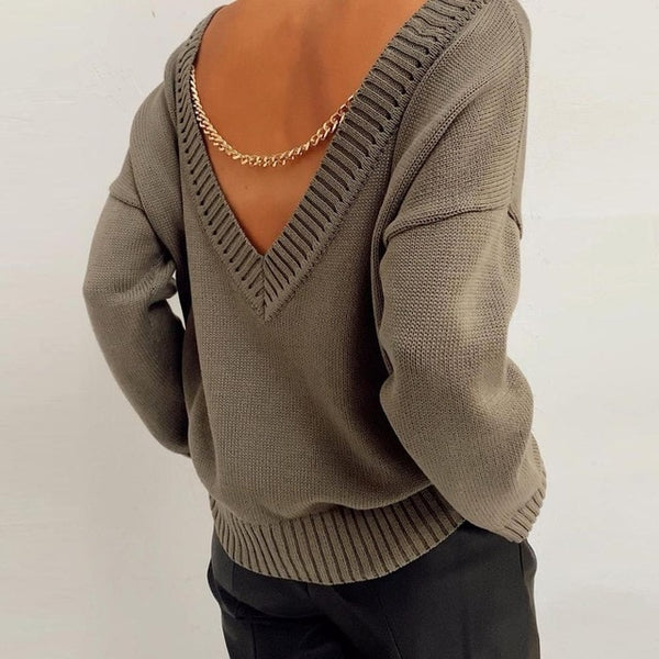 Danna Chain Knitted Top | Chain Knitted Sweaters Top