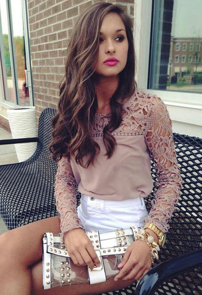 Odette | Elegant Lace Hollow Out Chiffon Shirt