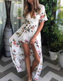 Carrie | backless print striped jumpsuit romper V neck chiffon women short overalls Waist tie summer beach boho playsuit