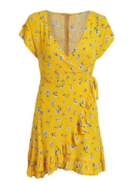 Susie | Yellow Printed Floral Boho Summer Dress