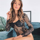 Sara Lace Bodysuit | Floral Embroidery Bodysuit