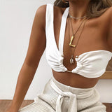 Julie Knitted Crop Top | metal ring white sexy backless one shoulder