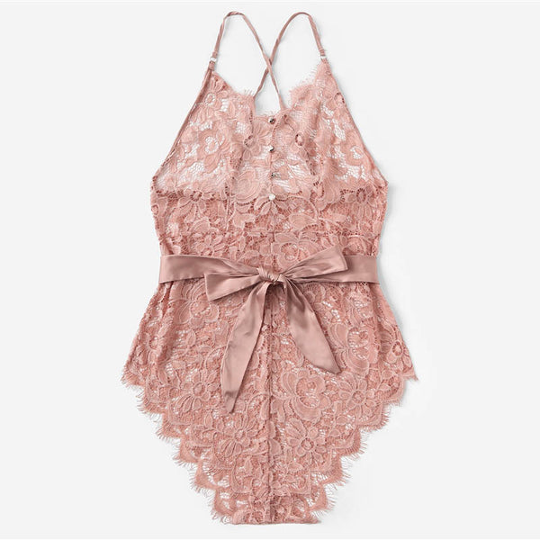 Acey Lace Bodysuit | Sexy Belted Intimates Bodysuit