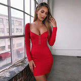 Rena Corset Dress | Metal Hooks V-Neck Sheath Long Sleeve Elegant Mini Party Dresses