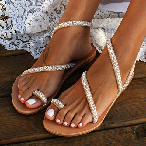 Jena Sandals |  Pearl Bohemia Sandals String Bead Womens Sandals