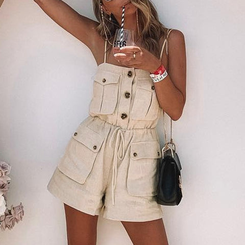 Berry Woven Romper | summer romper Pockets lace up button short female jumpsuit