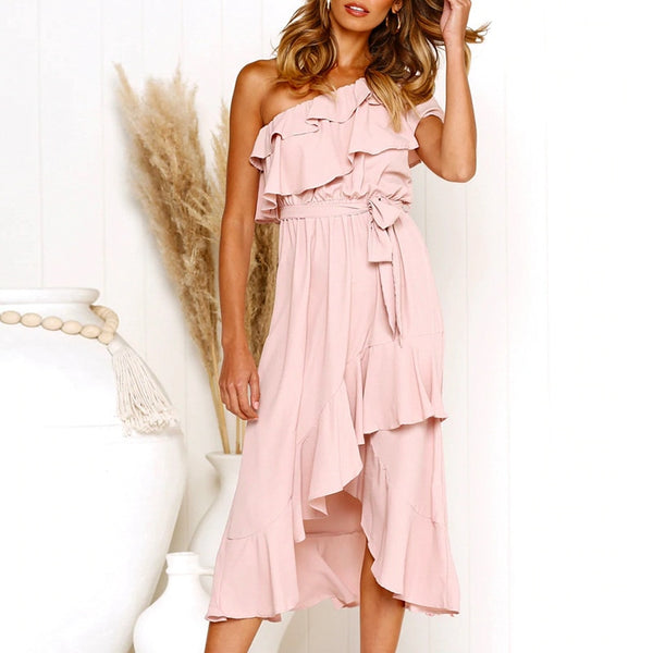 Kendra One Shoulder Dress | Women Dress Solid Pink Ruffle