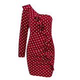 Mary Ruffle Dress | One Shoulder Polka Dot