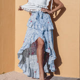 Benna Blue Ruffle Skirt | Floral Print High Waist Lace up Skirt