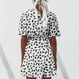Sara Print Dress | Mini Dress Lace Up Button Dress