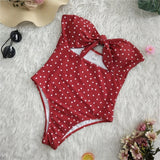 Kira One Piece Swimsuit | Sweet Polka Dot Knot Bathing Suit Female Hollow out Push up ff
