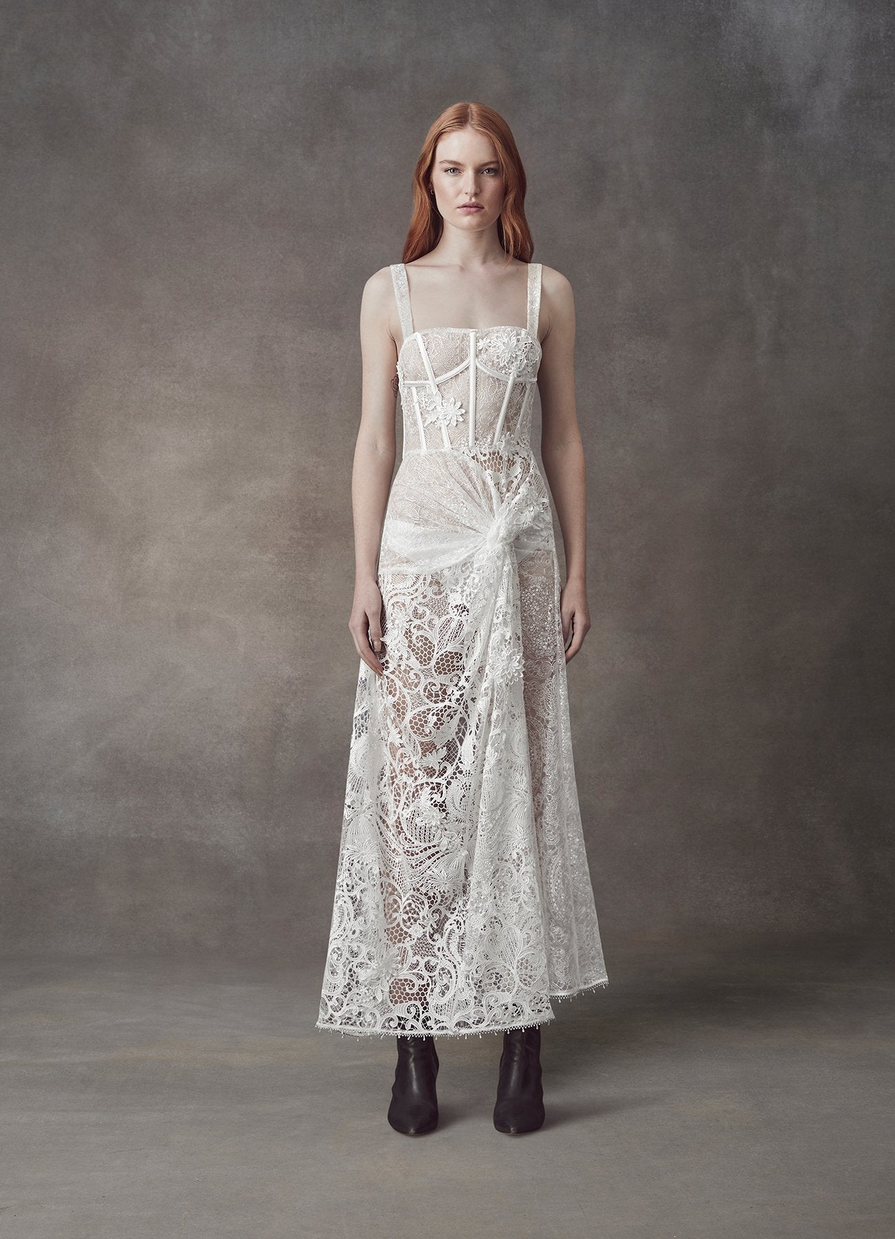Juno Drape Knotted Lace Dress - LEO & LIN