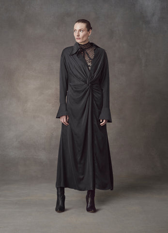 Pluto Drape Knotted Silk Dress