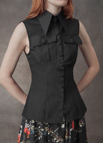 Diana Black Sleeveless Shirt