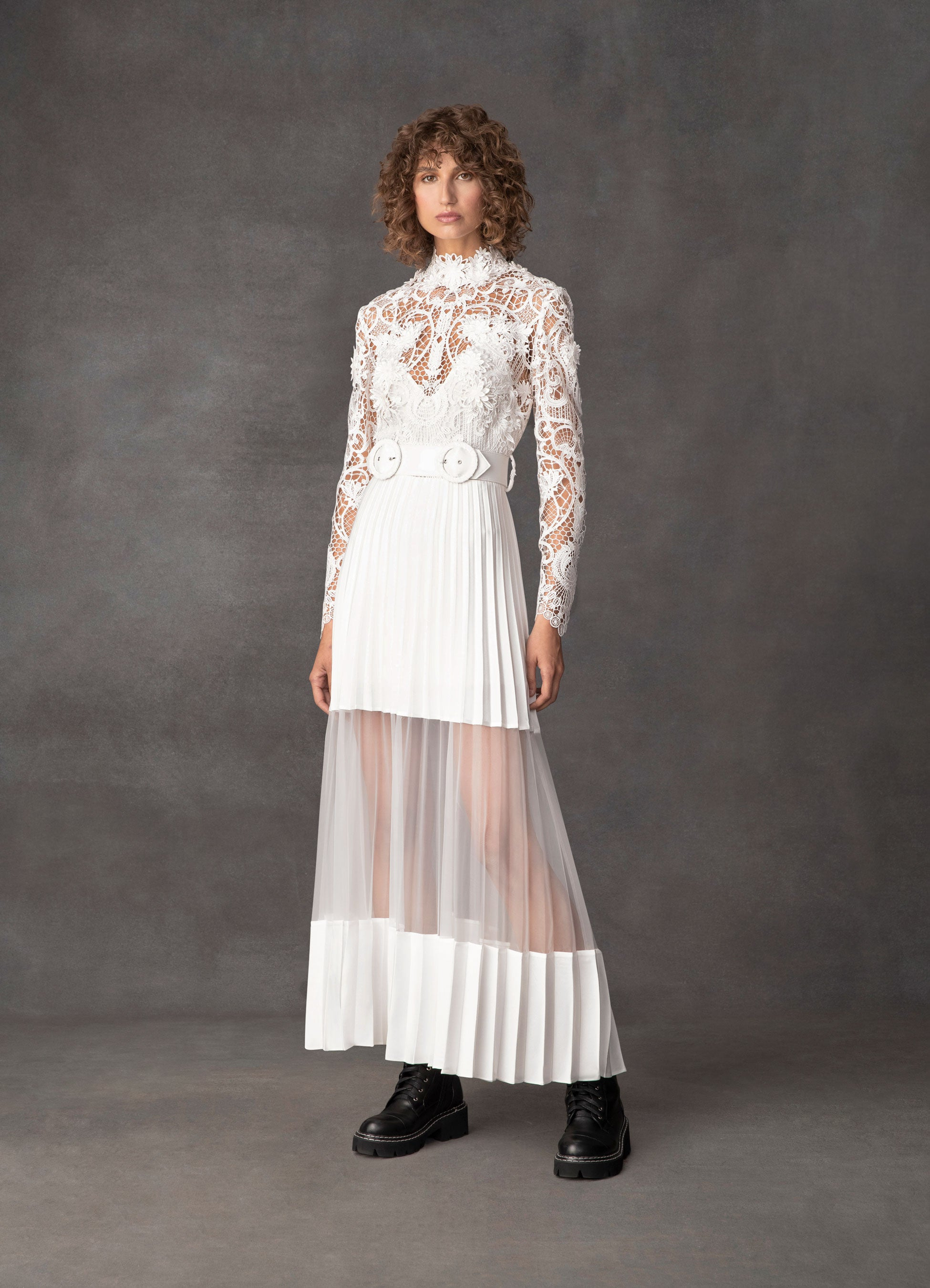 Transcendence Rose Lace Pleated Dress