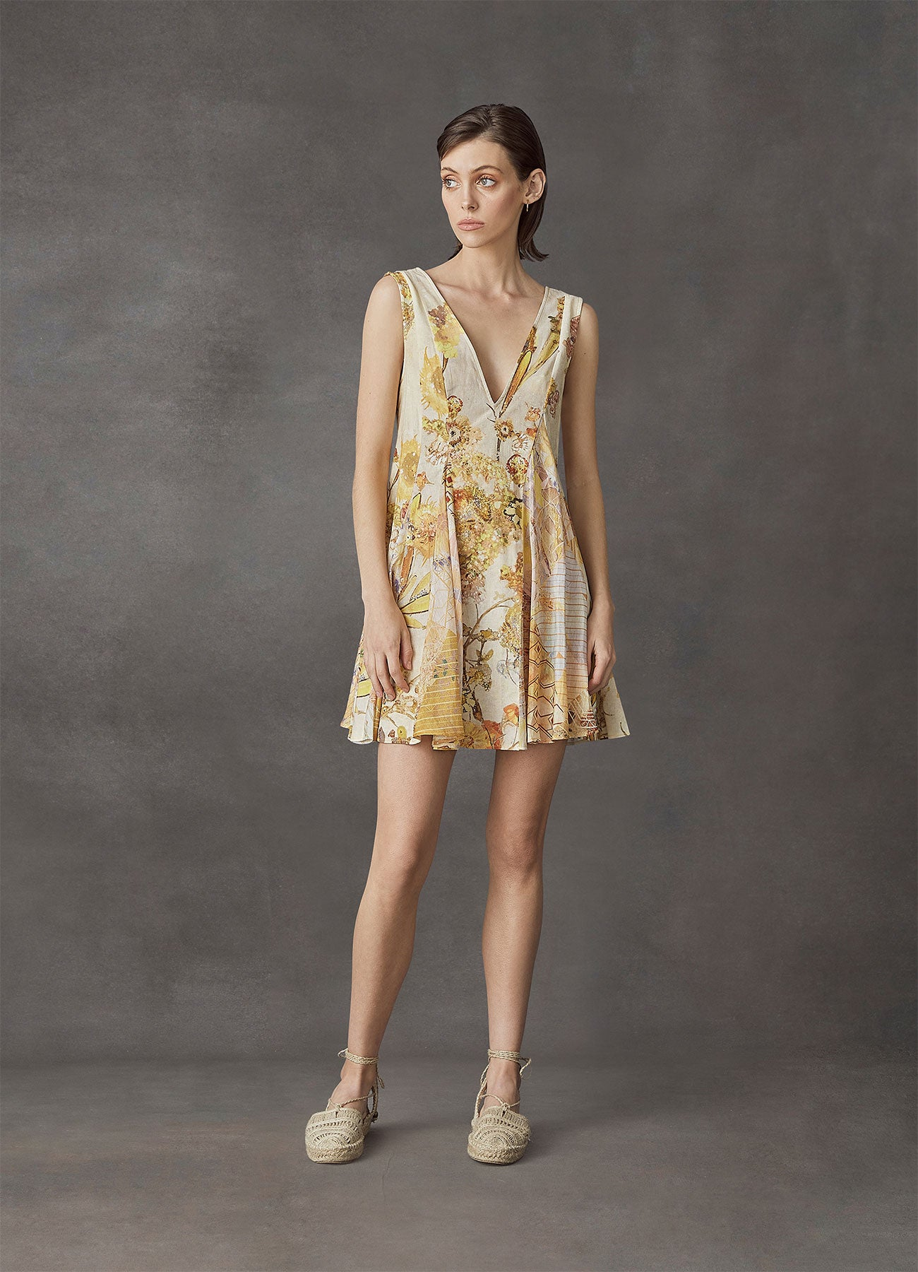 Sun-Kissed Cotton Linen Mini Dress