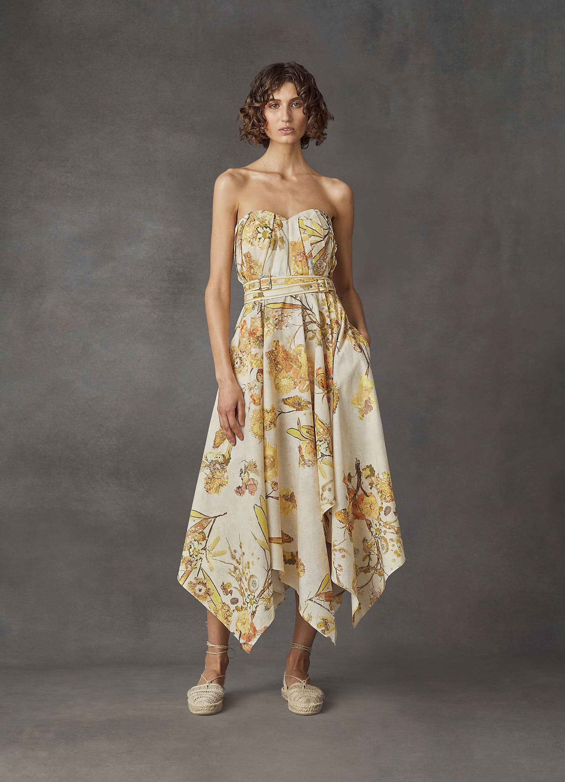 Sun-Kissed Cotton Linen Strapless Dress