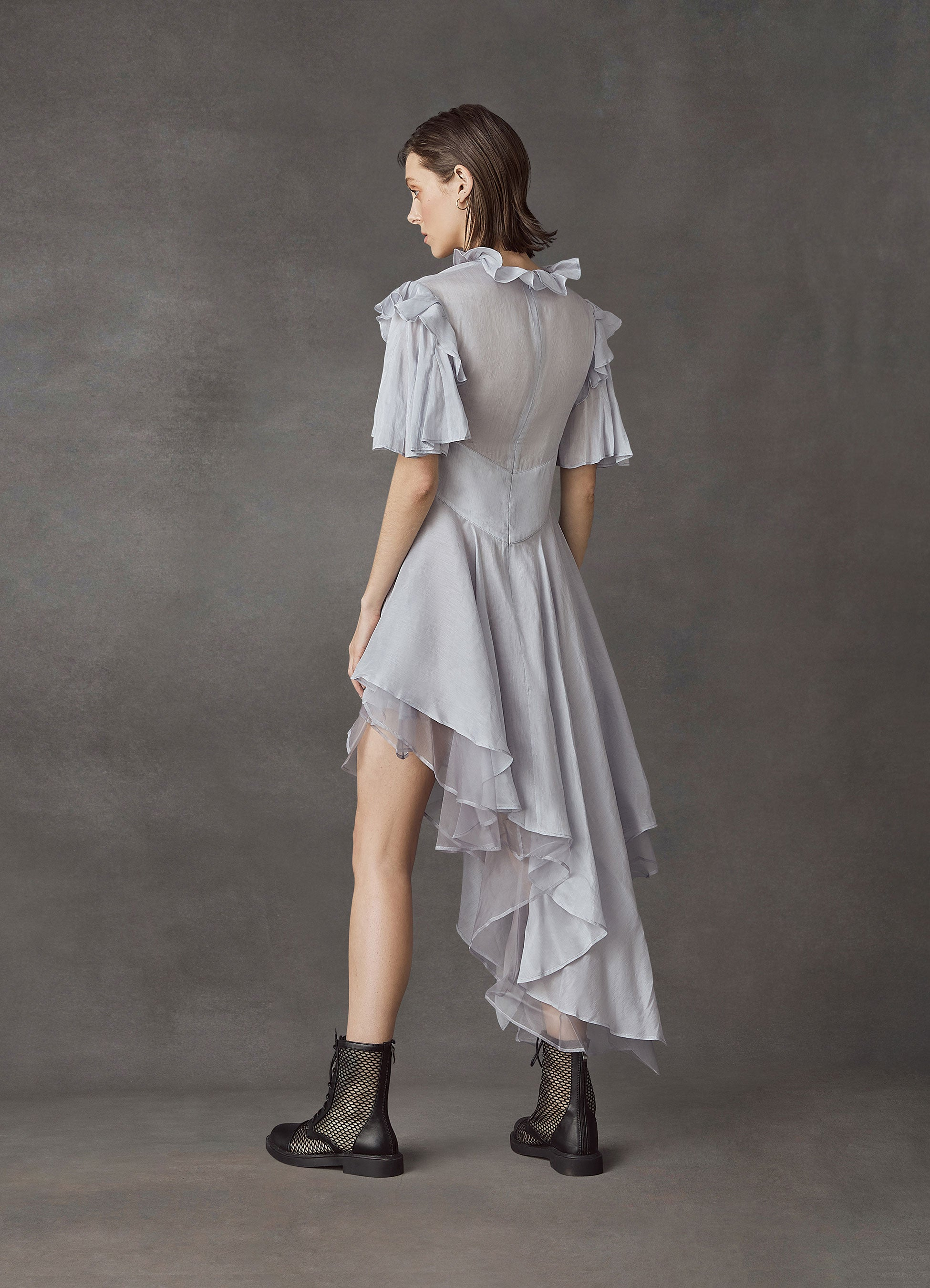Moonlight Silk Linen Asymmetrical Dress