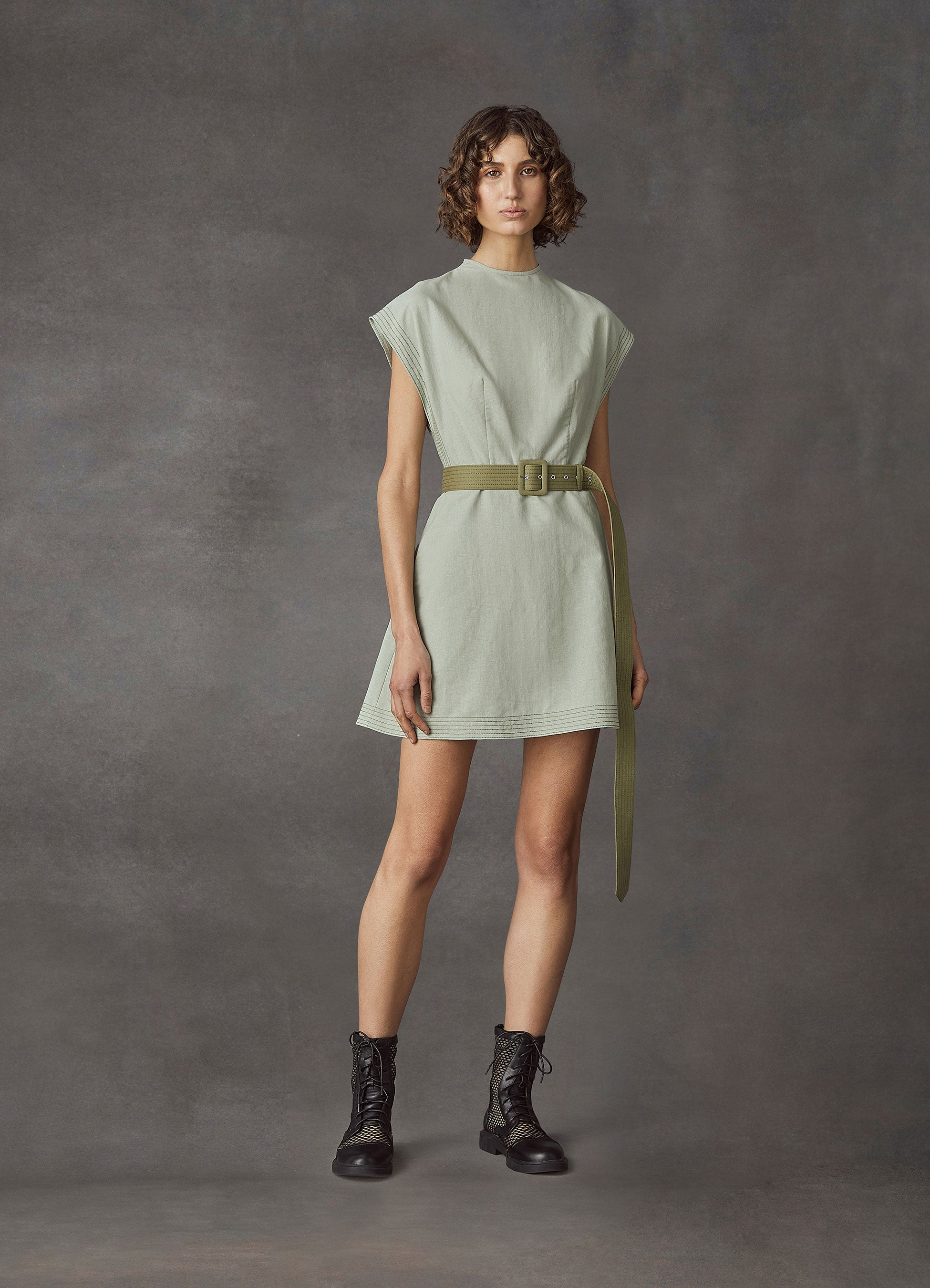 Lavish Cotton Linen Mini Dress