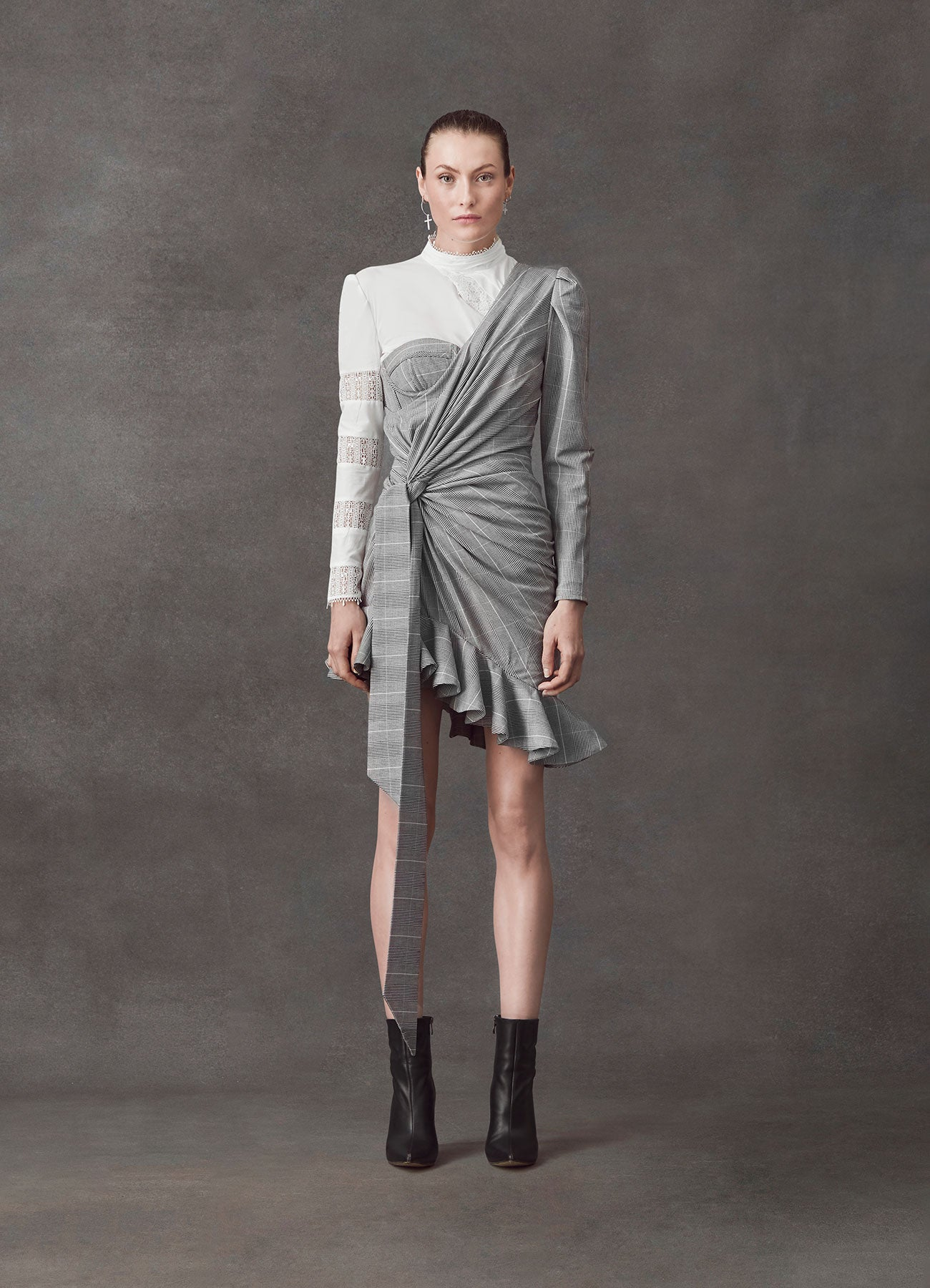 Invincible Grey Suiting Knotted Dress