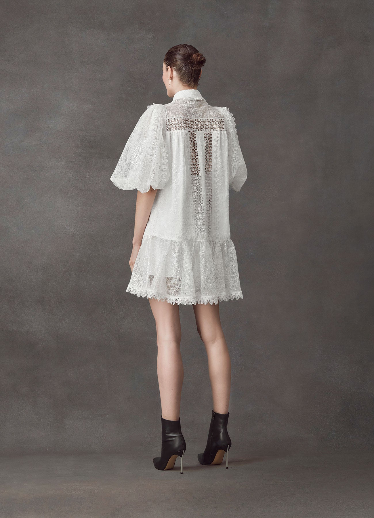 Serenity Patch Lace Short Dress