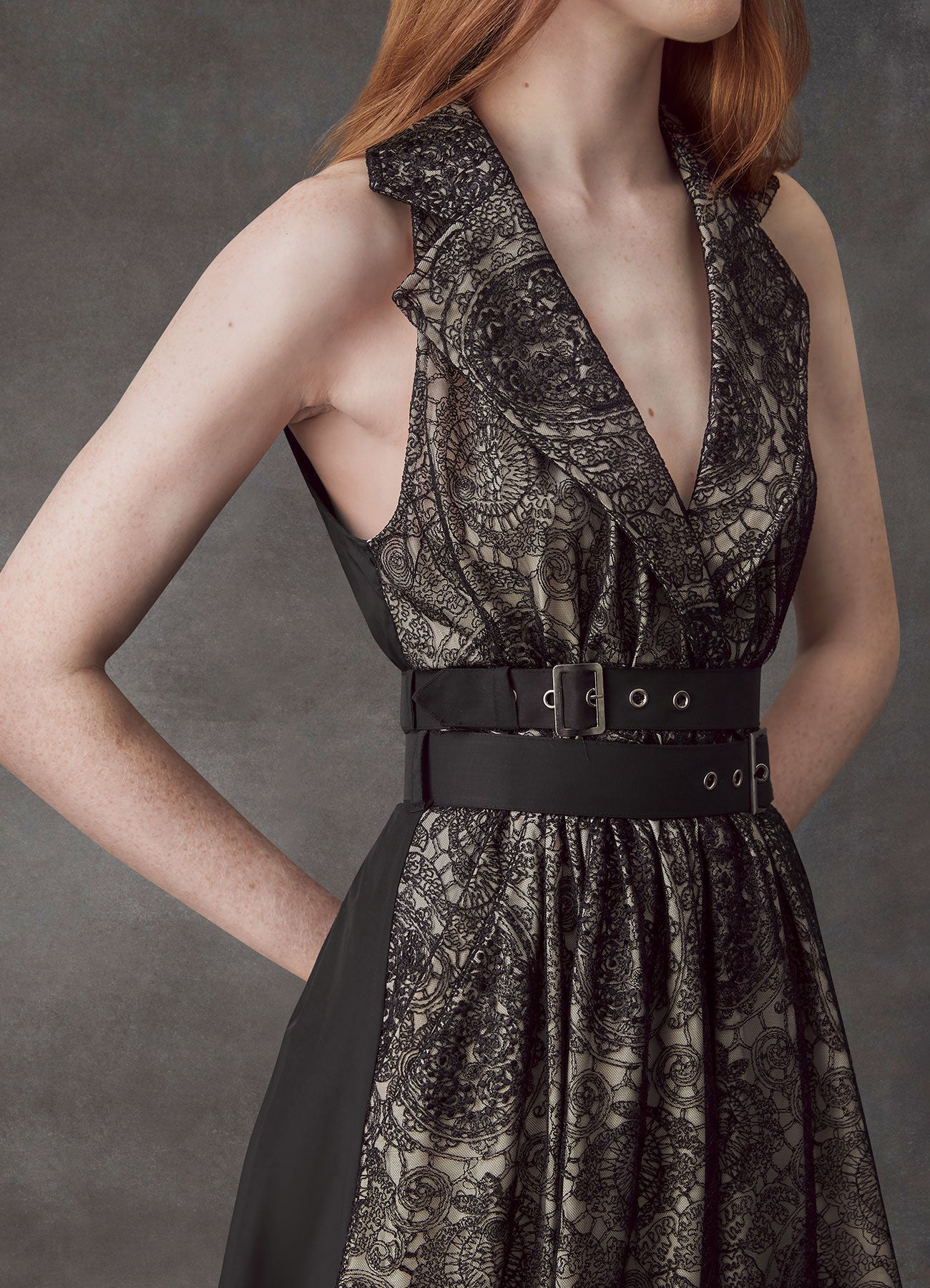 Circular Black Lace Patch Dress