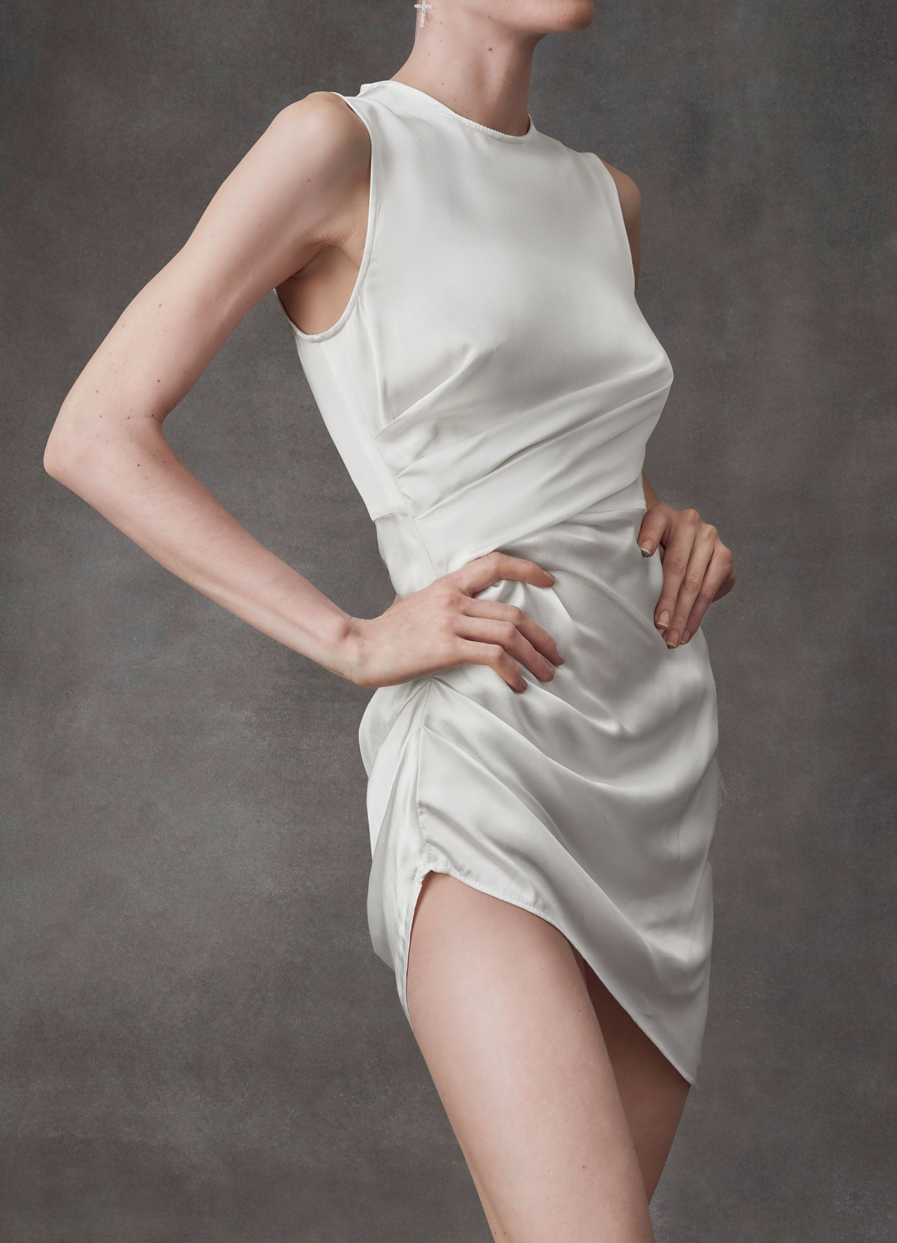 White Night Draped Short Dress