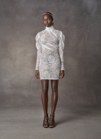 White Circular Lace Short Draped Dress