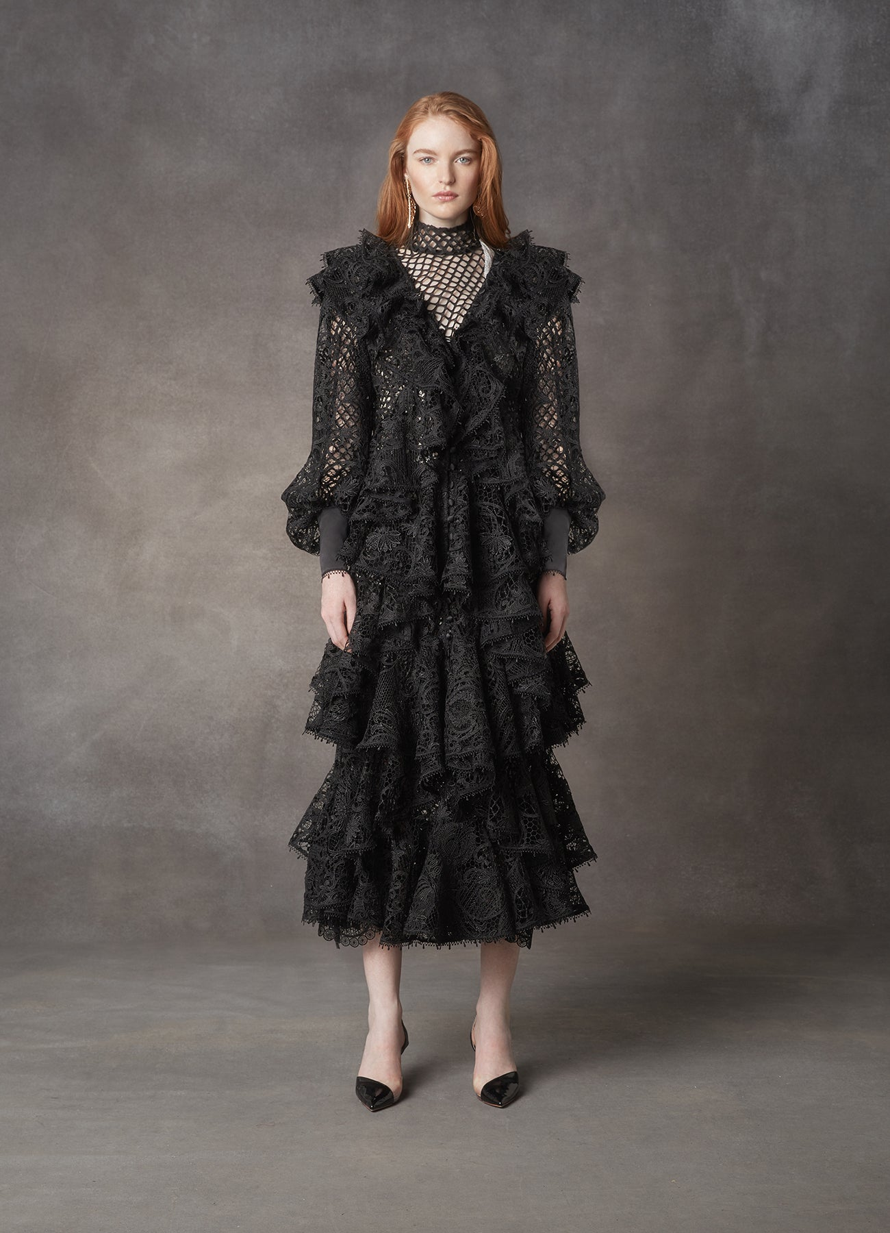 Black Juno Ruffled Lace Dress