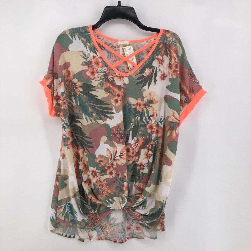 Sz M floral knotted top